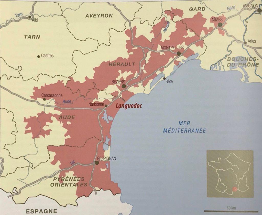 carte des vins de l'AOC Languedoc