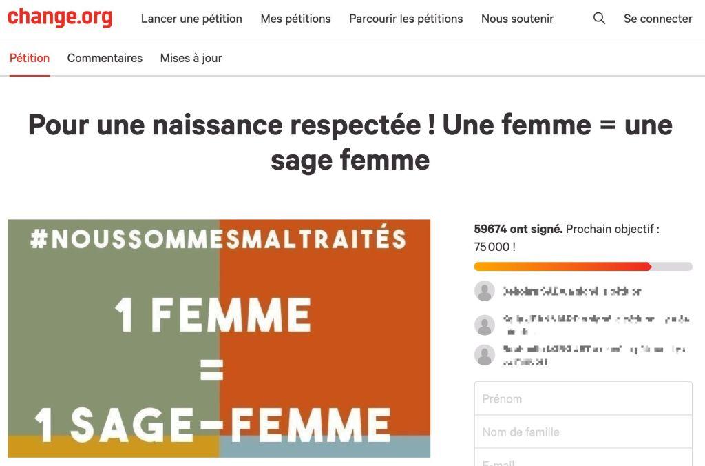 """Capture d'écran de la pétition """"Une femme = une sage-femme"""", 4/12/2020"""