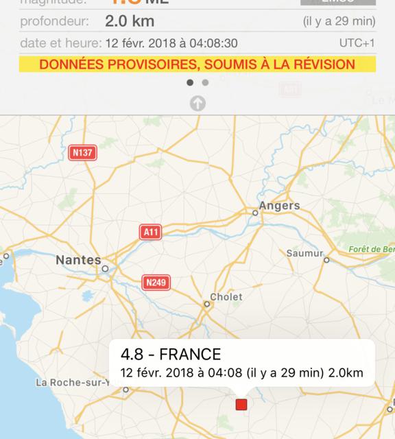 La Vendée et les Deux Sèvres ont tremblé cette nuit, autour de 4 heures du matin