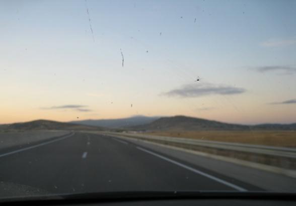 Lever de soleil sur l'Autoroute