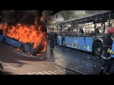 خطير...النيران تلتهم حافلة النقل الحضري تابعة لمدينة بيس بالدار البيضاء.