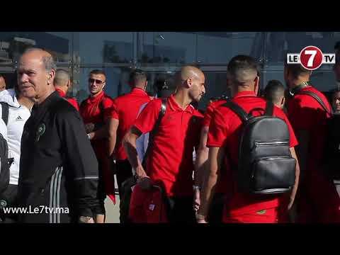 """لحظة توجه المنتخب الوطني المغربي إلى طنجة على متن القطار الفائق السرعة المغربي """"البراق"""""""
