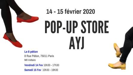 un pop up store fin d ecollaction hivers de la marque AYJ au 8 Petion