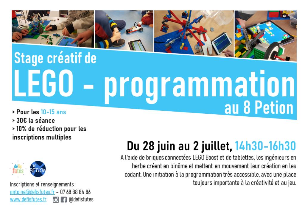 Des stages ingénierie avec des briques LEGO pour les enfants dans l'espace le8petion à Paris dans le 11ème