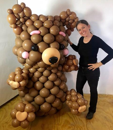Giant Teddy Bear Sculpture with artist Lea beck