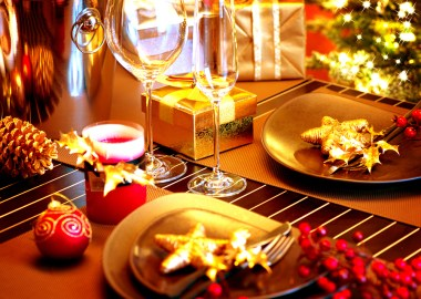 Christmas And New Year Holiday Table Setting. Celebration. Place