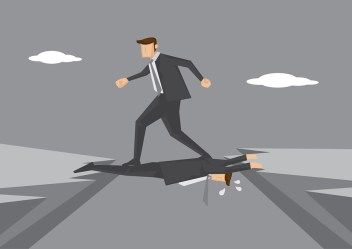 Business Executive Stepping On Colleague