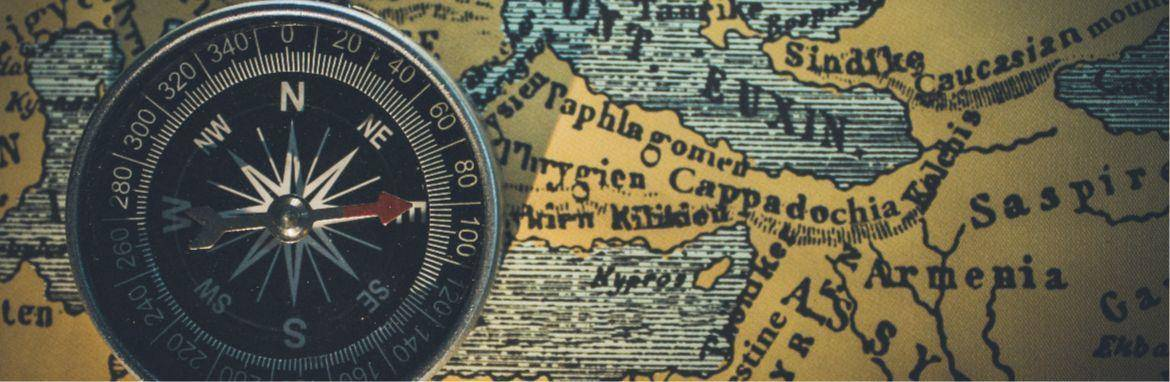 A compass and a map