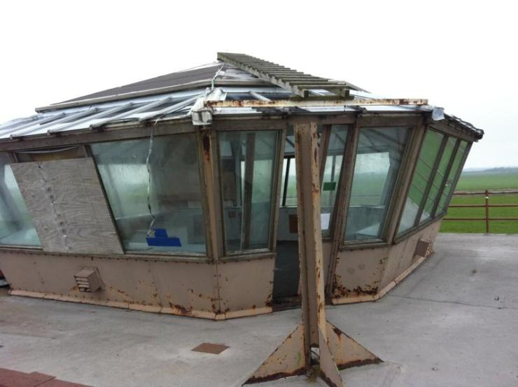 The top of the control tower