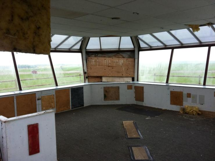 Inside the control tower. All equipment has been removed.