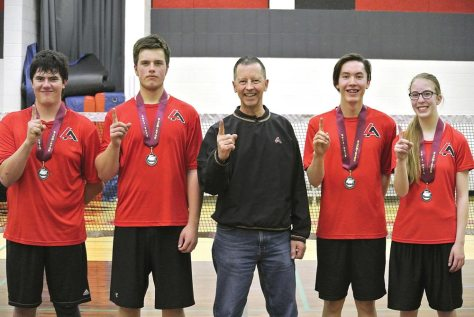 Loreburn Central School's senior badminton teams are pictured with their district gold medals: from left, Austin Daniluk, John Dodds, coach Grant Abbott, Shane Lafontaine and Karissa Rendall.