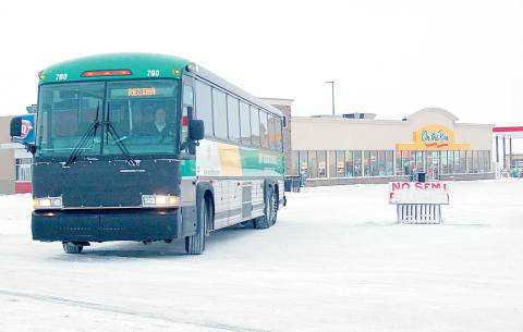 The STC bus bound for Regina is seen leaving the Davidson bus depot in this file photo.