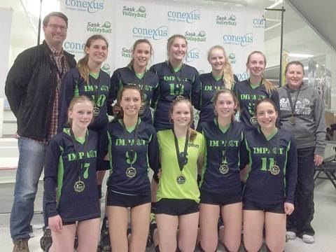 Members of the Loreburn Impact 18U pose for a group photo following their Division 2, Tier III win in the 2016 Conexus Provincial Volleyball Championships on April 24.