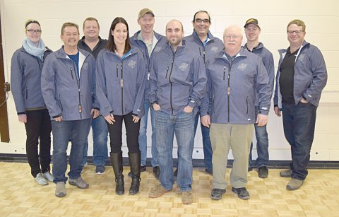 Participants in the Cargill 2016 Canola Challenge show off their jackets after a wrap-up dinner at Davidson Town Hall on Dec. 8. Pictured from left are agronomist Chelsea Richter, Dave Zacharias, John M. McJannet, BASF representative Janel Middleton, Rob Stone, agronomy manager Matt Hordos, Mike Heinrich, Jim Thorson, Linden Dieno and Gord Taylor.