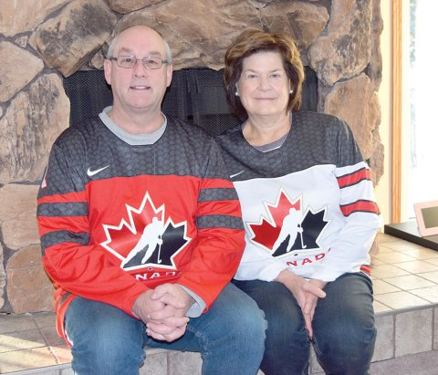 Brent and Joni Ingram, parents of Team Canada goalie Connor Ingram, wear their jerseys at their home in Imperial.