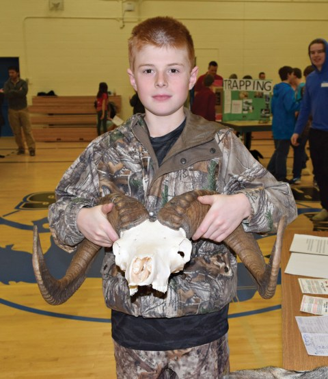 Tyler Bahnman displays a ram skull as part of his Heritage Fair project.