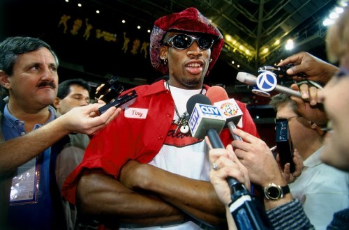 Dennis Rodman interviewé lors des finales 1996, une vraie tête de mule