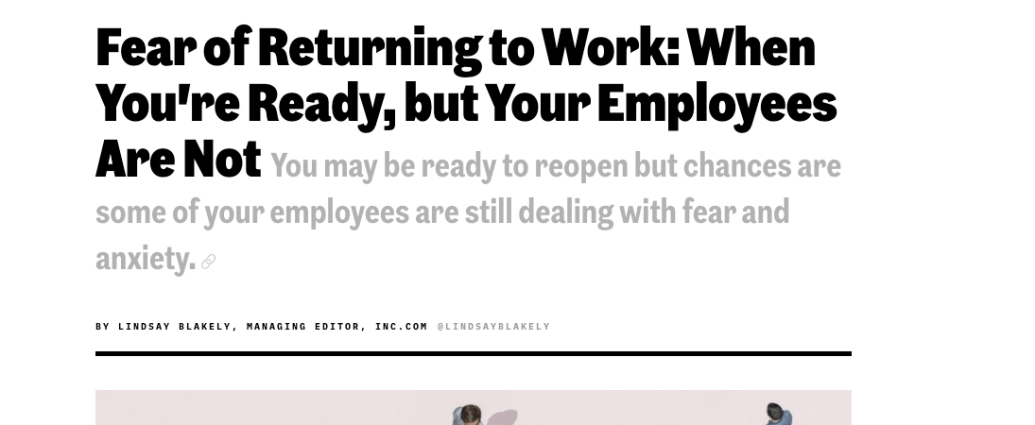 fear to return to the office