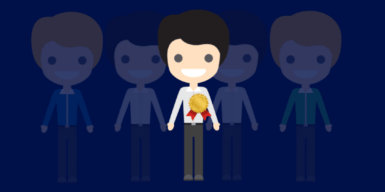 A cartoon of smiling men, with one with a first place ribbon on his chest.  Image for first time supervisors blog