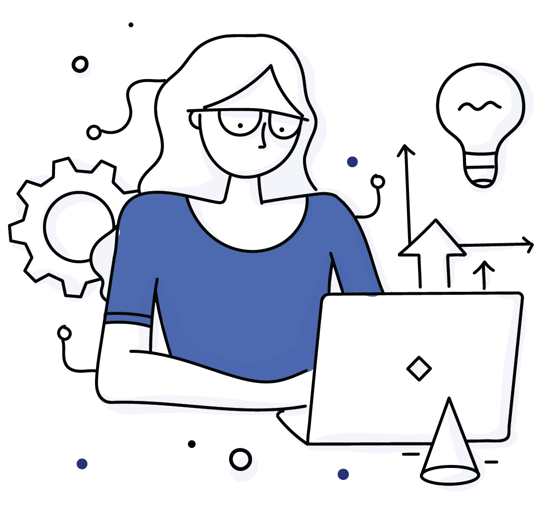 A cartoon woman browses leadership and executive coaching programs online.