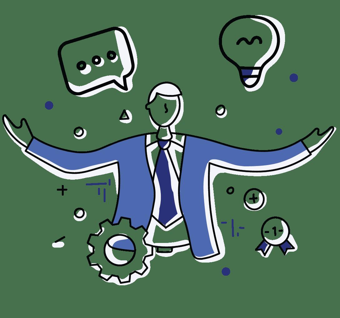 A cartoon man discusses leadership traits and skills.