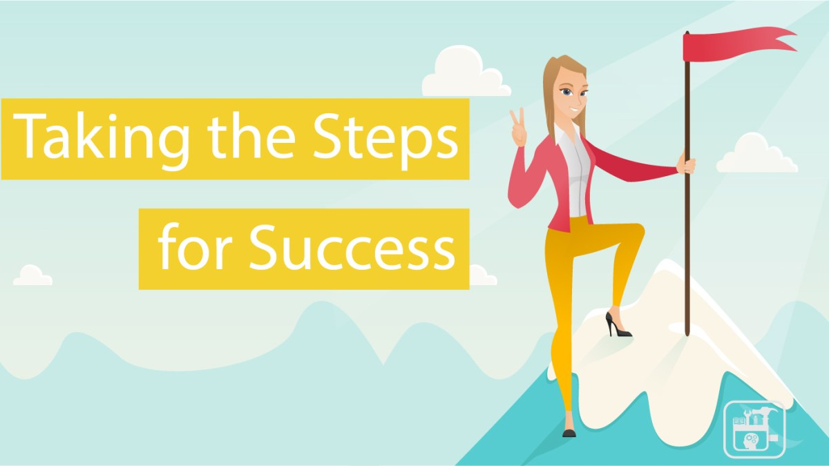 Lady on Mountain Steps for Success