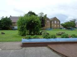 Lower school play yard and stage