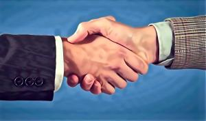 Shaking hands is for sealing deals.