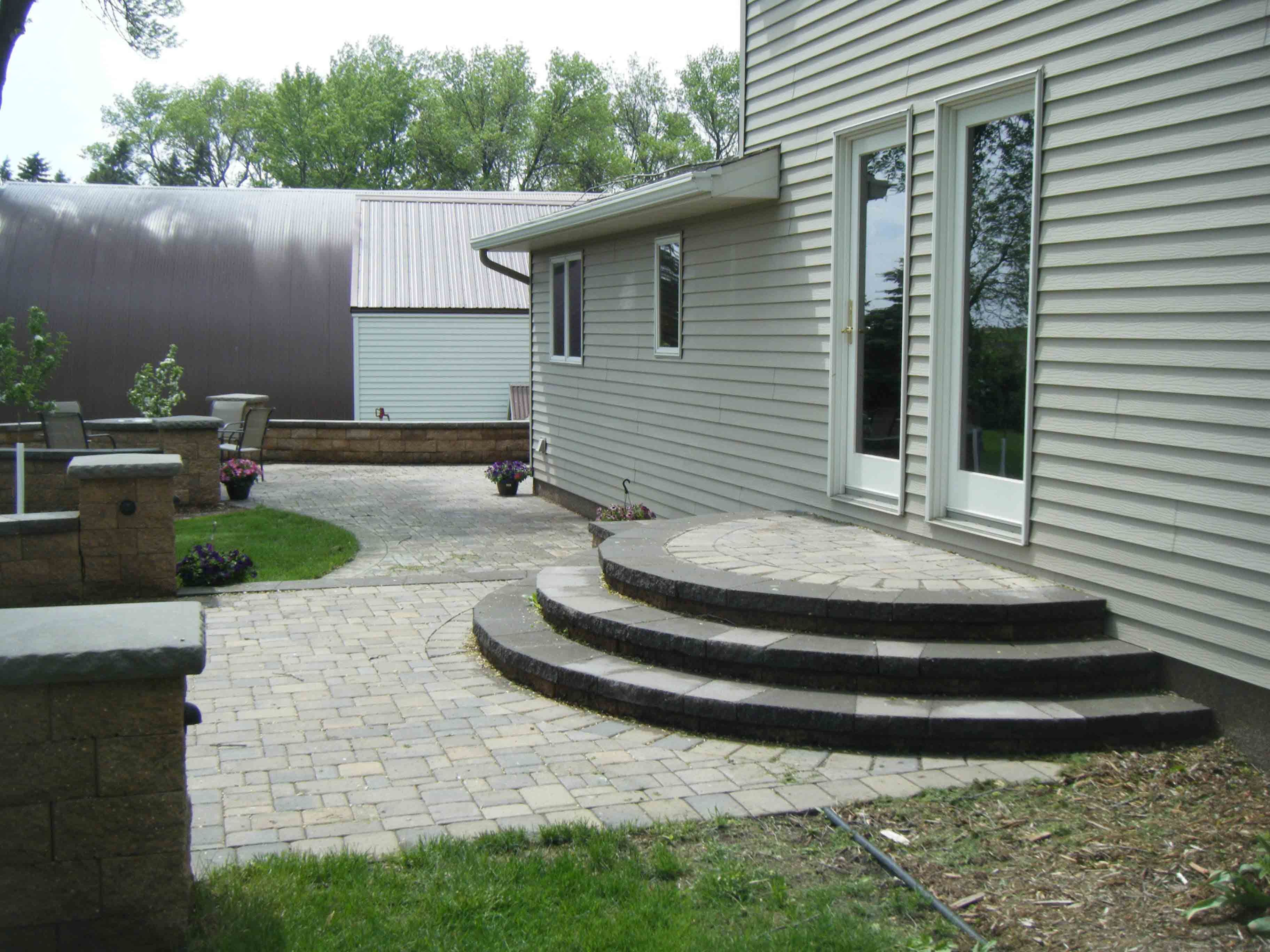 paver patio steps - Leading Edge Landscapes on Backyard Stairs Ideas id=65598