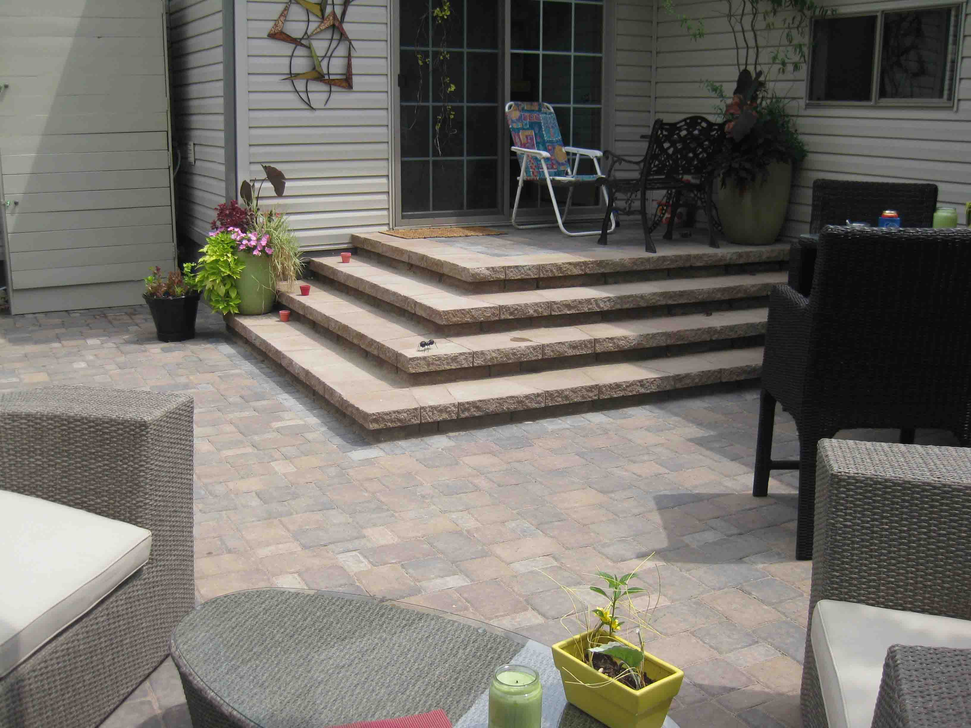 paver patio steps - Leading Edge Landscapes on Porch Backyard Ideas id=23085