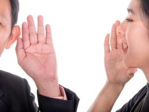 Woman speak to businessman and businessman listen to woman 1