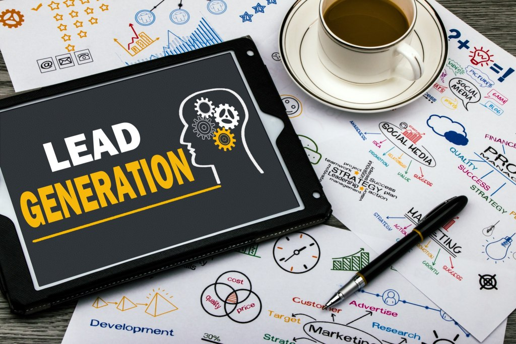 lead generation concept on touch screen