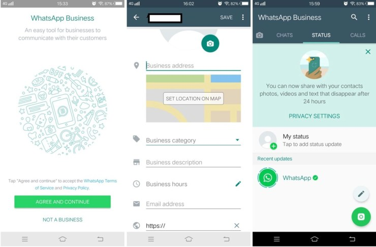 whatsapp business set profile