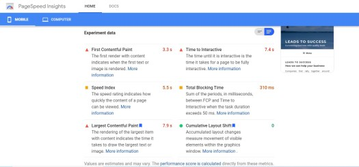 example of report of a mobile website by pagespeed insights