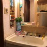 カウンター一体型洗面ボウルでお手入れも簡単です。(リビング)