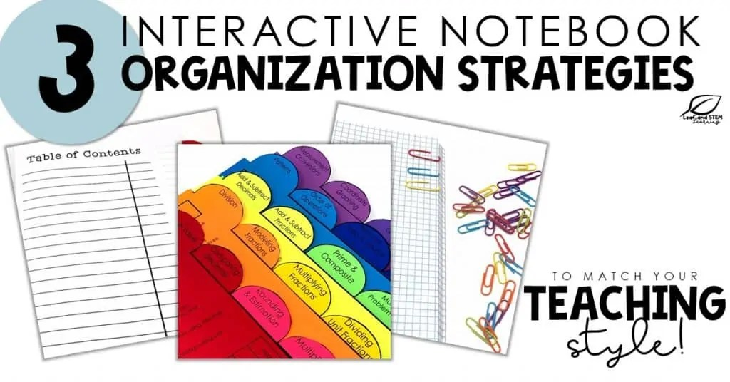 Interactive Notebook Organization for Math Classrooms