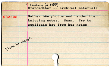 Card on E. Lindberg's archives