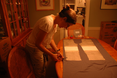 Jane cutting fabric for Grace's faux jeans