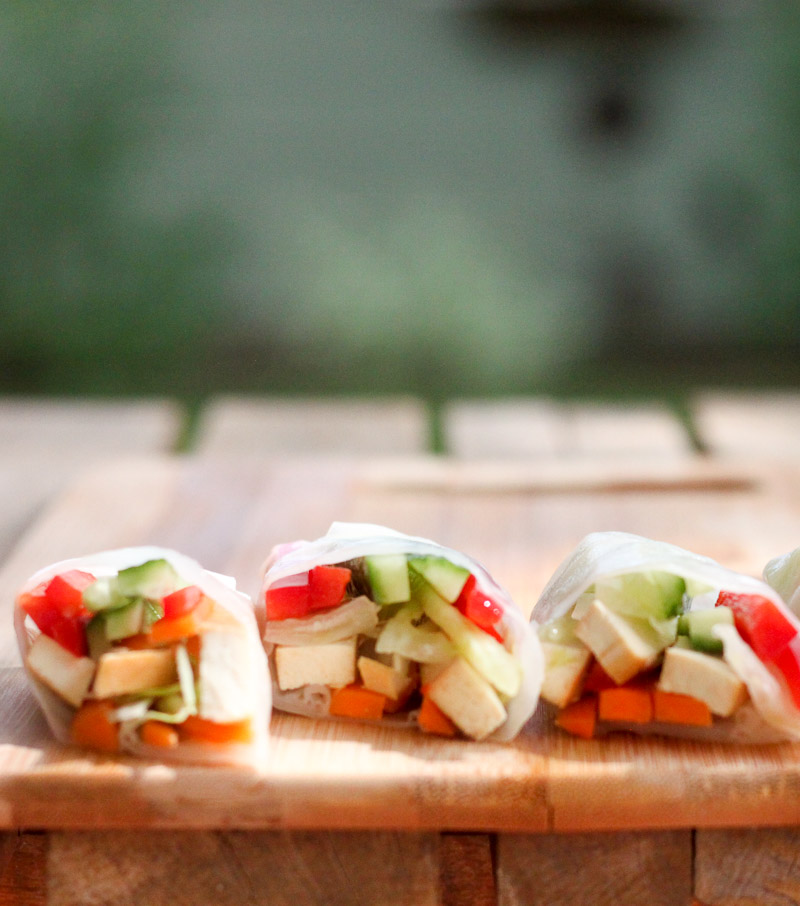 Vegan Vietnamese Rolls with Spicy Peanut Sauce - Leafy Greens and Chocolate