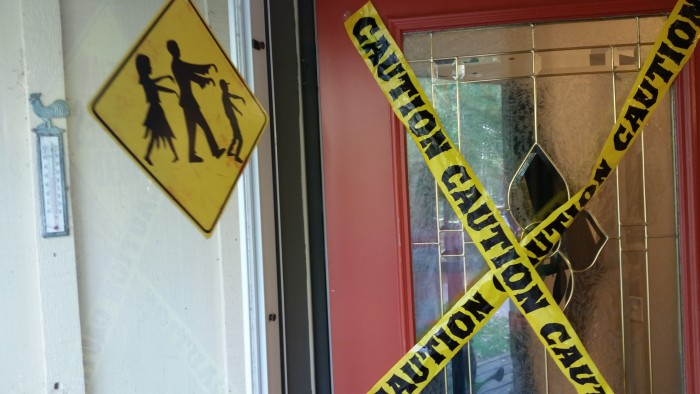 caution zombie crossing halloween decor Target