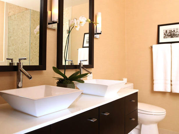bathroom vanity double sinks on counter