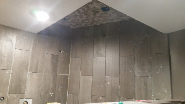 DIY shower tile install ceiling