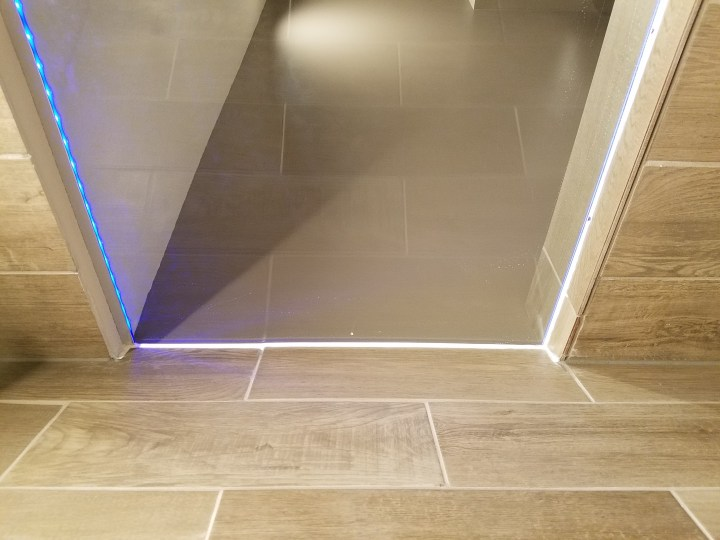 custom shower glass piece LED lights