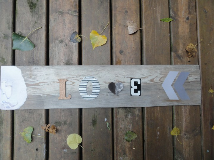 DIY Love sign reclaimed wood