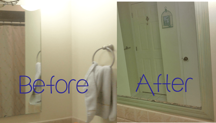 before and after mirror frame DIY
