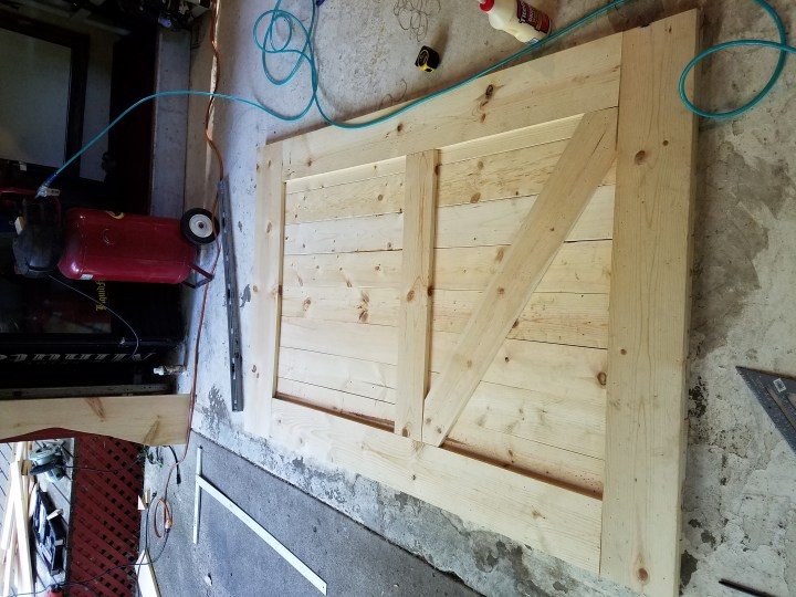 lumber for barn door DIY assembly