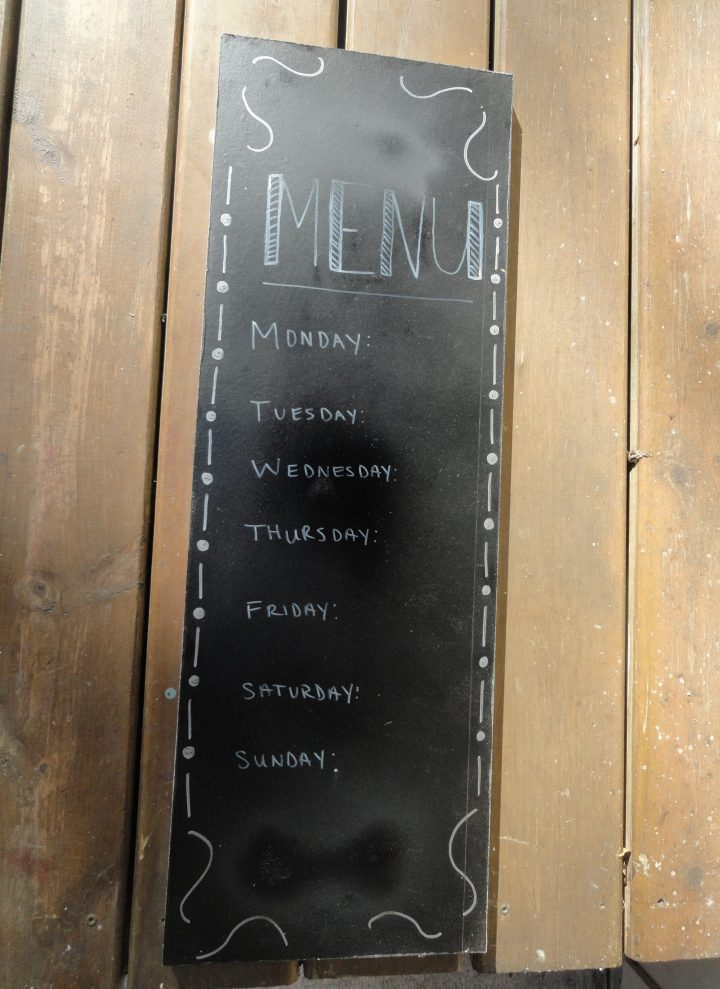 DIY chalk paint sign menu