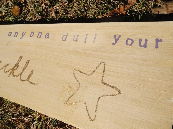 don't let anyone dull your sparkle DIY wood sign glitter