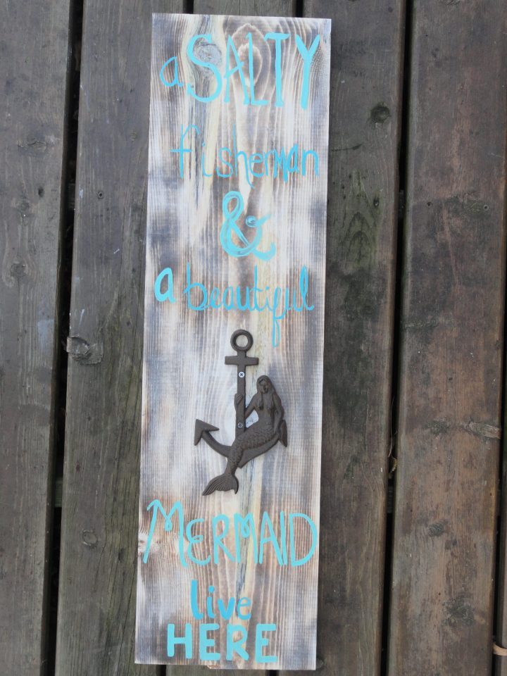 Fisherman and mermaid wood sign metal anchor