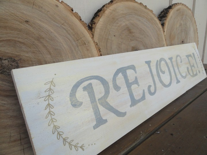Rejoice wood signs